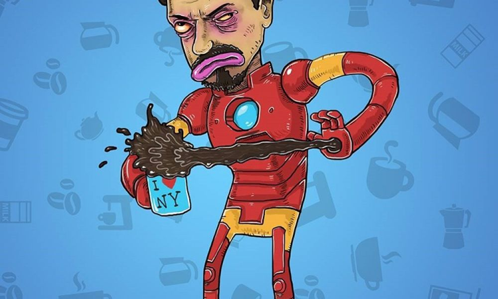 Drawings of Famous Cartoons Characters Before They've Had Coffee
