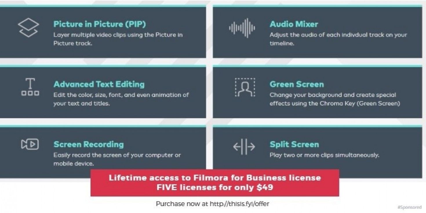 Get 5 lifetime business licenses for Filmora for US$49