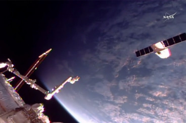 Dragon Cargo Craft Flies Away From Station