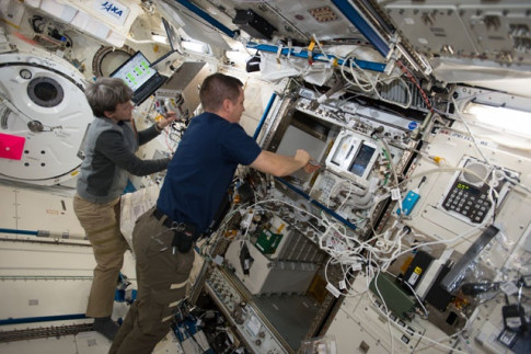Astronauts Work Muscle Scans and Science Gear Upgrades