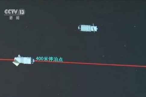 Chinese Tianzhou-1 Cargo Craft & Tiangong-2 Space Lab engage in...