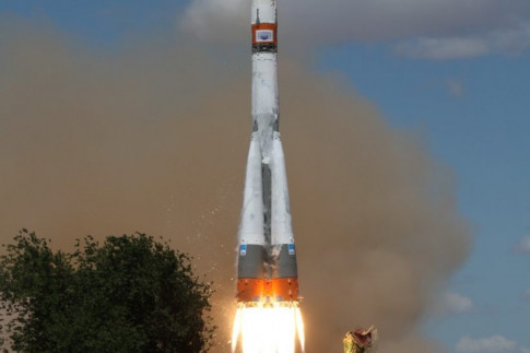 Multi-Payload Soyuz Launch Captured by Satellites in Orbit,...