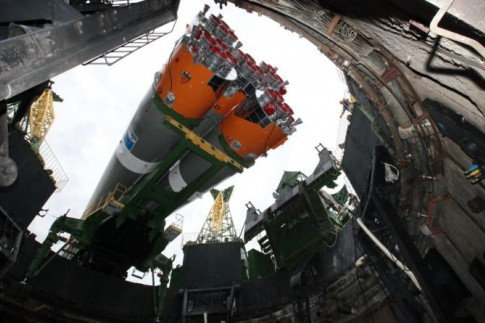 Photos & Video: Soyuz Rocket rolls to Baikonur Launch Pad for...