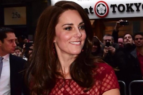 Duchess of Cambridge steals the show in a red sheer dress