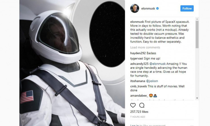 Elon Musk Unveils SpaceX`s Sleek New Spacesuit on Instagram