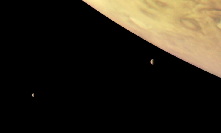 Jupiter and Two of Its Biggest Moons Loom in Stunning Juno Photo
