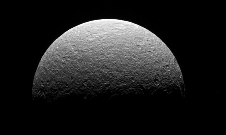 Rhea Retrospective: Cassini Probe`s Last View of Battered Saturn Moon