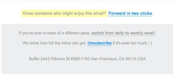 Email List Unsubscribe Example Buffer